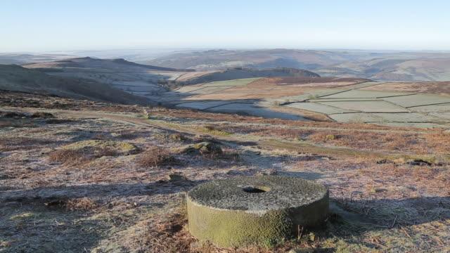 stanage edge millstones, derbyshire, england, uk, europe - derbyshire stock videos & royalty-free footage