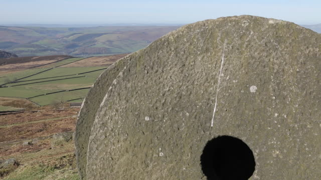 stanage edge millstones, derbyshire, england, uk, europe - millstone stock videos & royalty-free footage