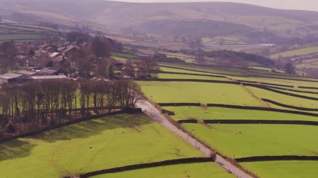 stanbury, west yorkshire - drone shot - hill stock videos & royalty-free footage