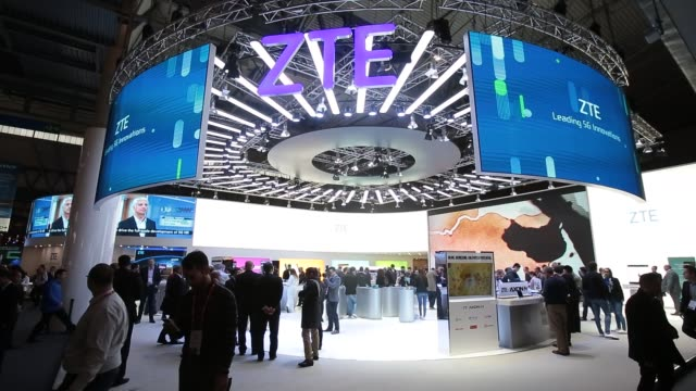 zte stand during the mobile world congress the world's biggest mobile fair on february 28 2018 in barcelona the mobile world congress is held in... - exhibition stock videos and b-roll footage