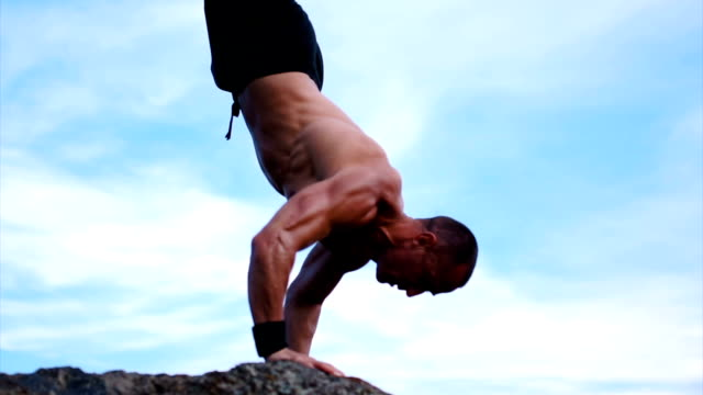 stand on the hands close up - shirtless stock videos & royalty-free footage