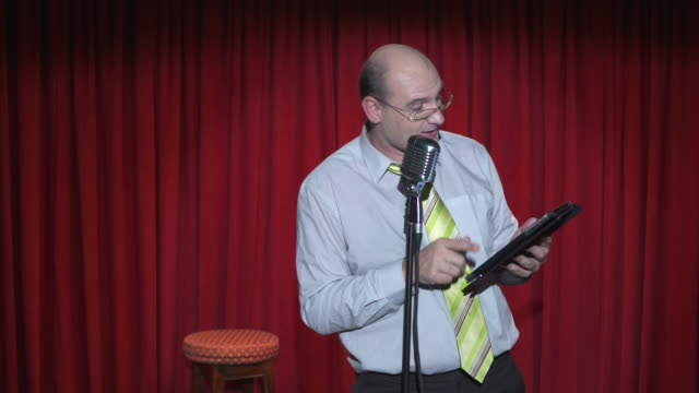 hd: stand up comedian using digital tablet - shirt and tie stock videos & royalty-free footage