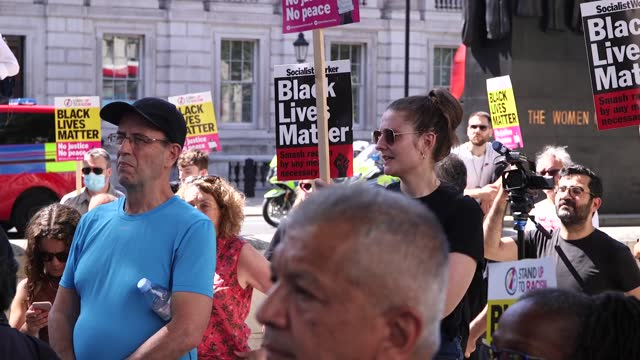 stand up to racism demonstrators gather to take the knee outside downing street, in protest against priti patel and boris johnson's engagement with... - connection stock videos & royalty-free footage