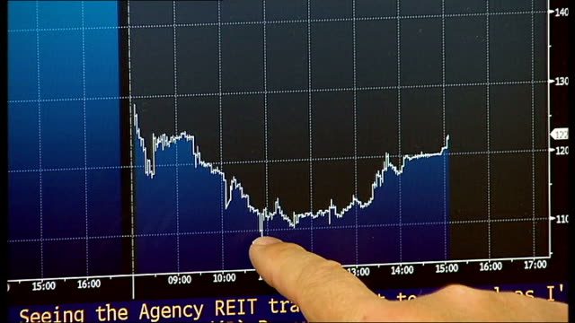 stockvideo's en b-roll-footage met standard chartered shares fall following money laundering allegations; england: london: int rupert armitage interview sot - as pointing to computer... - graph