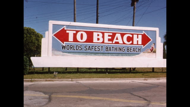 1954 MONTAGE Standard Oil welcomes you to Florida and beach signs, Florida, USA