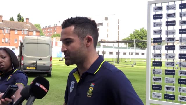 standin south africa captain dean elgar talks to the media ahead of thursday's game versus england regular captain faf du plessis is still in south... - thursday stock videos and b-roll footage