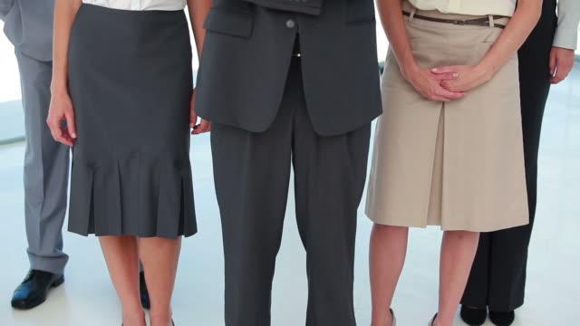 stockvideo's en b-roll-footage met standing business people posing - compleet pak