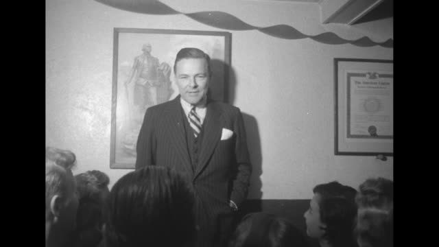 standing in from of a portrait of george washington sen henry cabot lodge jr speaks to a small group and broadly grins / note exact day not known - george washington portrait stock videos and b-roll footage