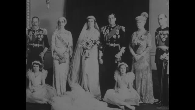 stockvideo's en b-roll-footage met king george v grand duchess elena vladimirovna princess marina prince george queen mary prince nicholas of greece and denmark seated in front... - prins koninklijk persoon