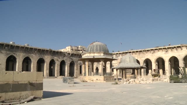 standing outside aleppo's umayyad mosque the city's mufti mahmoud akkam said he initially wanted the celebrated landmark to be restored by fellow... - rebuilding stock videos & royalty-free footage