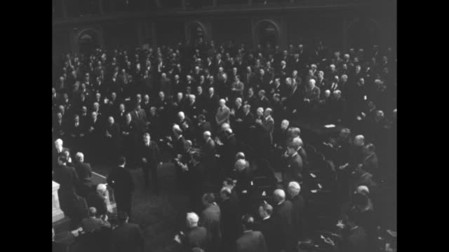 vs standing ovations from congressmen and senators when pres harry s truman enters the house of representatives chamber prior to his address to the... - joint session of congress stock videos and b-roll footage