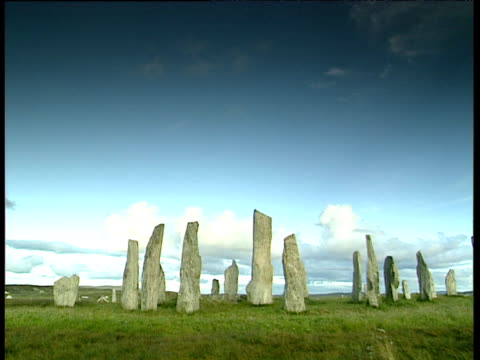 Standing stones at Lewis against blue sky
