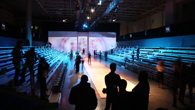 stands start to fill at lg fashion week in toronto, canada. - week stock videos and b-roll footage