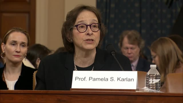 stanford law professor pamela karlan tells the house judiciary committee at its first public impeachment inquiry hearing that the list of impeachable... - political action committee bildbanksvideor och videomaterial från bakom kulisserna