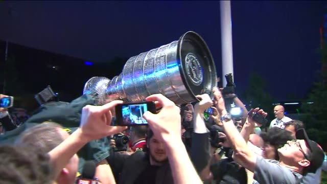 WGN Stanley Cup Arrives At Bar on June 24 2013 in Chicago Illinois