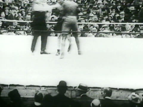 stanley ketchel boxing jack johnson in boxing ring, spectators all around watching. vs johnson winning fight by knock out, people rushing into ring. - boxing stock videos & royalty-free footage