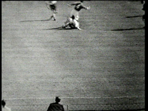 stanley matthews jinks past defender, crosses low to bill perry who scores winning goal, blackpool fc vs bolton wanderers, 1953 fa cup final, wembley - final round stock videos & royalty-free footage