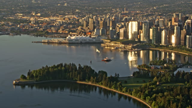 aerial stanley park and city of vancouver in early morning sun - overhead view stock videos & royalty-free footage
