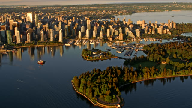 aerial stanley park and vancouver city at sunrise - canada stock videos & royalty-free footage