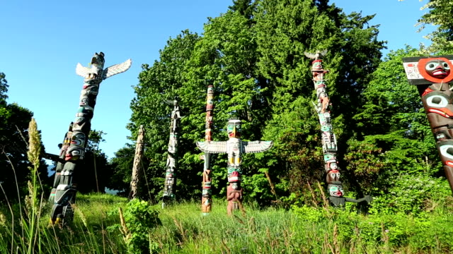 stanley park vancouver totem poles - north american tribal culture stock videos & royalty-free footage