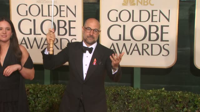 stanley tucci at the 67th annual golden globe awards arrivals part 4 at beverly hills ca - ゴールデングローブ賞点の映像素材/bロール