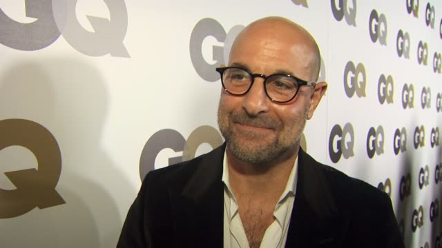 stanley tucci on coming out tonight to support his friend steve buscemi his favorite jeff bridges films and talks about burlesque at the gq's 'men of... - burlesque stock videos & royalty-free footage