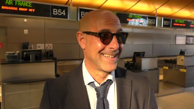 INTERVIEW Stanley Tucci talks about if the bald look will ever be in style while departing at LAX Airport in Los Angeles in Celebrity Sightings in...