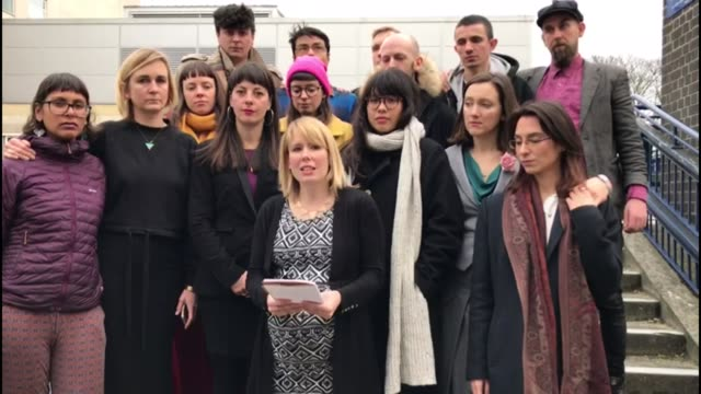 stansted 15 activists found guilty of terror-related charge; england: essex: chelmsford crown court: ext emma hughes reading statement to press sot... - campaigner stock videos & royalty-free footage