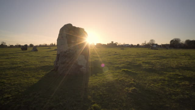 stanton drew stone circles in afternoon winter sunshine. - obelisk stock videos & royalty-free footage