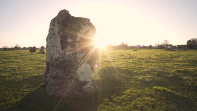 stanton drew stone circles in afternoon winter sunshine. - solstice stock videos & royalty-free footage