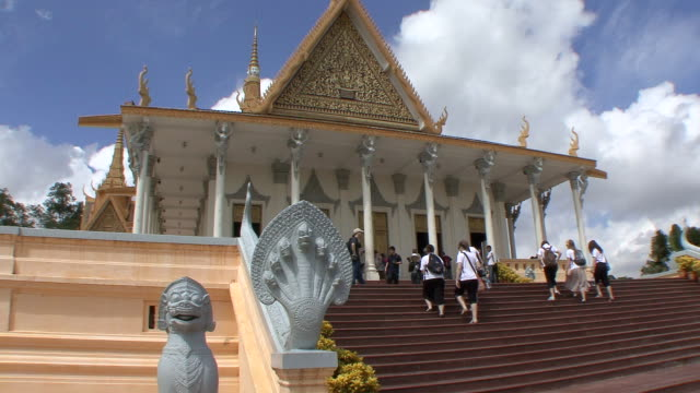 ms stapes leading to tower of royal palace / phnom penh, cambodia - animal representation stock videos and b-roll footage