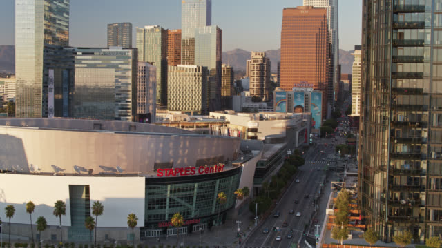 staples center and figueroa street - aerial view - microsoft theater los angeles stock videos & royalty-free footage