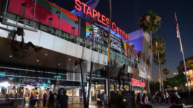 staples center at night neat la live in los angeles downtown, california, 4k - staples centre stock videos & royalty-free footage