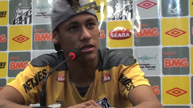 star brazilian striker neymar puts paid to rumours linking him to a big money transfer to spain saying he is staying with santos. santos, sao paulo,... - exchanging stock videos & royalty-free footage