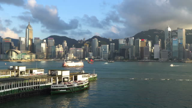 stockvideo's en b-roll-footage met star ferry and the victoria harbour in hong kong - star ferry