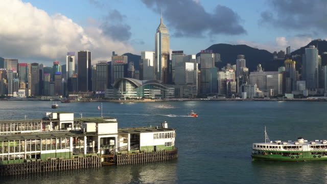 star ferry and the victoria harbour in hong kong - star ferry stock videos & royalty-free footage