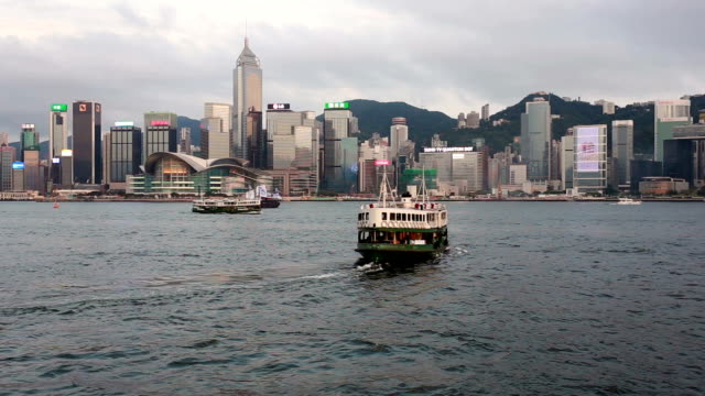 stockvideo's en b-roll-footage met star ferry crossing the victoria harbor in hong kong - star ferry