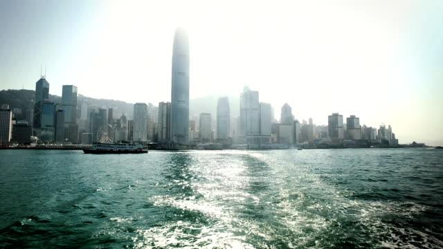 vídeos de stock, filmes e b-roll de star ferry journey leaving central ferry terminal - ferry