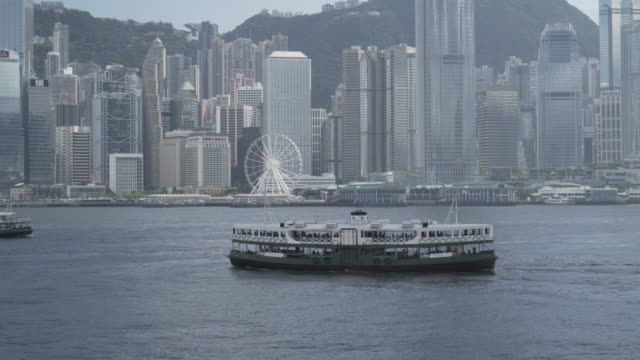 star ferry ship at hong kong's victoria harbor - star ferry bildbanksvideor och videomaterial från bakom kulisserna