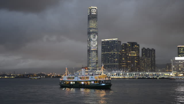 ws star ferry victoria harbor and skyline / hong kong, china - star ferry stock videos & royalty-free footage