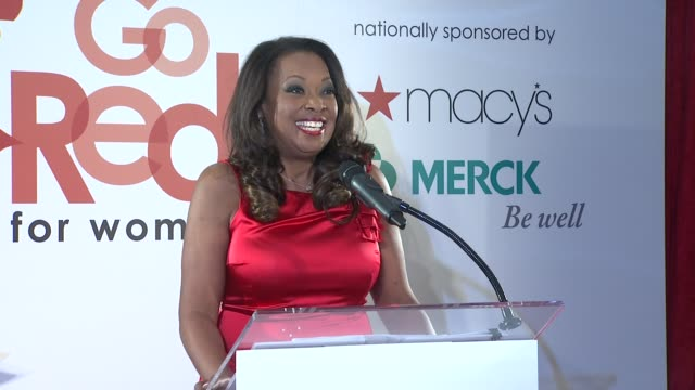 star jones talks about go red and health at aha's go red for women national wear red day at macy's at macy's herald square on 02/03/12 in new york - macy's herald square stock videos and b-roll footage