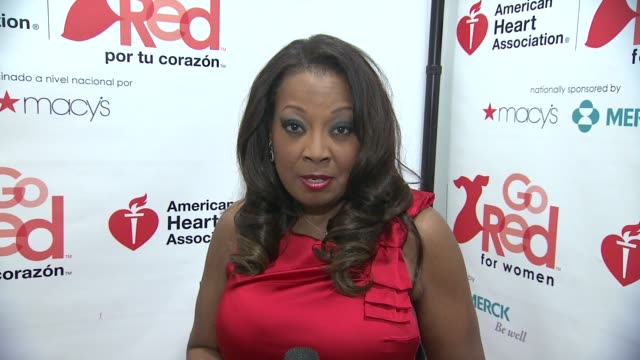 star jones talks about going red at aha's go red for women national wear red day at macy's at macy's herald square on 02/03/12 in new york - star jones stock videos & royalty-free footage