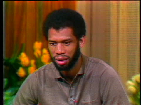 stockvideo's en b-roll-footage met star kareem abdul jabbar says he hopes he has matured and while the person he is today has his roots in the 1960s, he feels he is a different person... - sport
