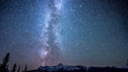 Star over snow mountain on Icefield parkway Canada
