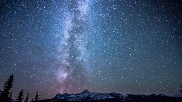 star over snow mountain on icefield parkway canada - copy space stock videos & royalty-free footage