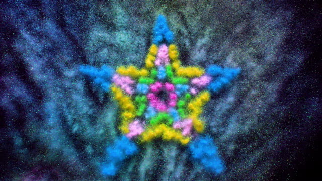 star shapes made with multi colored glitter powder exploding towards camera and becoming defocused on black background, glittering bokeh - star shape stock videos & royalty-free footage