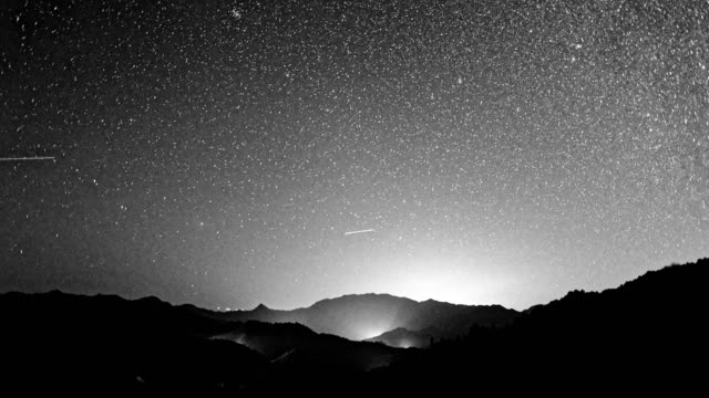 star sky translation scene at night 4k dci - black and white stock videos & royalty-free footage