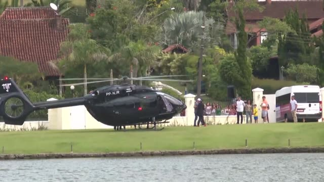 Star striker Neymar arrives by helicopter to join Brazil's Copa America squad for training three days ahead of schedule