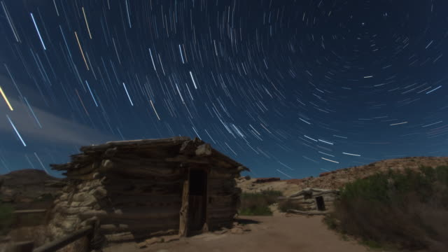 Star trail above a lodge in Arches National Park