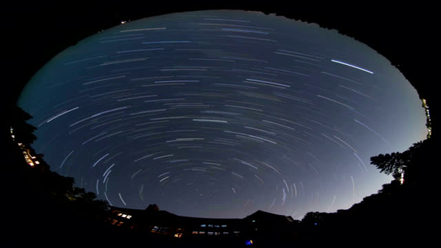 Star trails, all-sky view